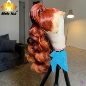 Loose Wave Lace Front Wig Ginger Orange Glueless Peruvian Hair 13x4 Human Hair Wigs 150% Remy Wig With Baby For Women