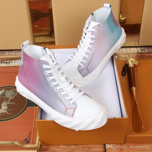 2019 New Brand Fashion Luxury Designer Mens Shoes 19ss Colorful 5D Chameleon LVSS High Top Sneakers Casual Skate Genuine Leather Chaussures