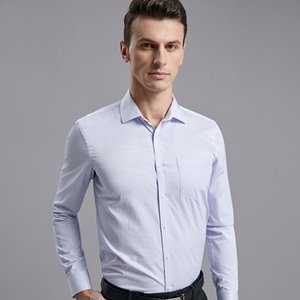 mens designerwear white long-sleeved tooling shirt enlarged size slim non-ironing Business leisure PM
