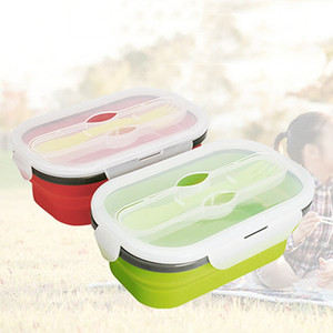 Outdoor-Camping-Bento Box Eco-friendly faltbare Salatschüssel 800ml Food Grade Silikon faltbare Große Lunchbox mit Gabel H0513 T03