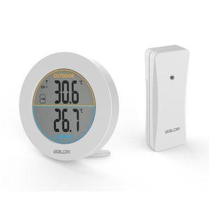 Termometro wireless rotondo BALDR Orologio stazione meteorologica In / outdoor Sensore di temperatura Colore bianco nero