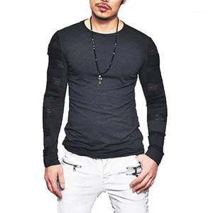 Sleeved Solid Color Autumn Spring Tshirt Mesh Дизайнер Tops Tee New Street Мужской Men тенниска Long