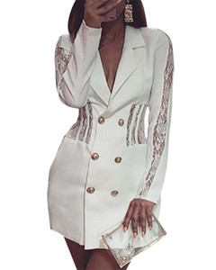Женские кружева пэчворк сексуальное платье женская мода пр Белый отворот шеи кнопка работы платья женщины с длинным рукавом