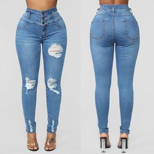 2020 Blue Jeans Mulher Denim Calças Calças da mulher Lápis Skinny Jeans sólida de cor elevada ocasional Buraco Wasit Cotton De Corpo Inteiro