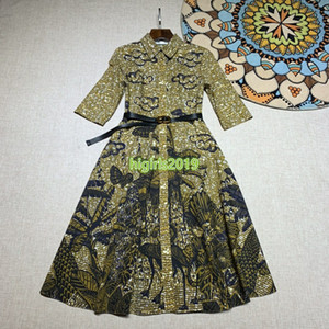 altas mujeres end girls vestido del vestido de la solapa de la camisa del cuello de la mariposa de la impresión floral de la manga larga falda cinturón bodycon pista de diseño de moda los vestidos de lujo