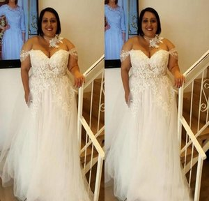 2020 Plus Size African Wedding Dresses Off Shoulder Boho Wedding Dress With Lace A Line Floor Length Tulle Country Bridal Gowns