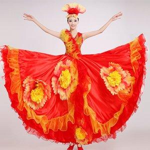 Yeni İspanyol Boğa Güreşi Dans Etek Performans Kostüm Büyük Salıncak Etek Koro Takım Yetişkin Kadın 360 Derece-720 Derece