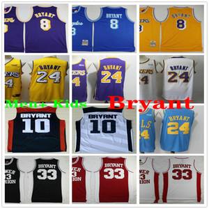 NCAA رجل + الاطفال ميريون السفلى 24 براينت كرة السلة جيرسي خمر قميص 8 33 براينت 10 فريق USA كلية الفانيلة أرجواني أصفر أسود أبيض