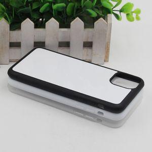 2D резиновый ТПУ сделай сам сублимации случай для IPhone 11 11 Pro 11 Pro Макс с алюминиевым металлическим листом Клей 50pcs / lot