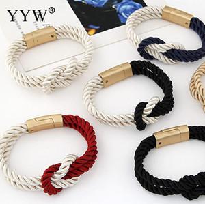 Pulseras de abrigo de torsión de moda para mujer Negro Rojo Azul Color Pulseras de cuerda trenzada Brazaletes Cierre de oro Pulsera de cordón de nylon simple