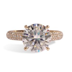Transgems 14k oro giallo 3 carati diametro 9mm F colore moissanite anello di fidanzamento per le donne solitare con accenti Y19061203