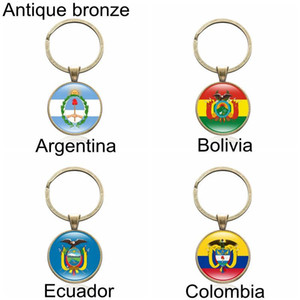 kollar Arjantin Bolivya Ekvador Kolombiya kadın ve erkek takı araba anahtarlık ince aksesuarları Ulusal bayrağı anahtarlık ceket