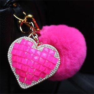 فاخر بوم بوم منفوش فرو الأرنب الكرة كريستال القلب سلسلة المفاتيح سيارة حلقة مفاتيح النساء الأزواج هدية حقيبة يد سحر قلادة حقيبة Chaveiro