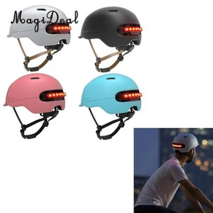 Adjustable Motorcycle Helmet BMX Bicycle Safety Helmet Scooter with LED Alarming Light