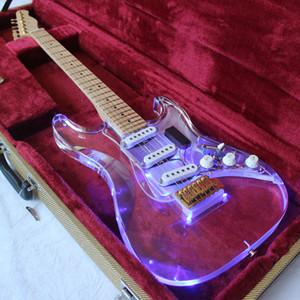 LED cristallo acrilico chitarra elettrica / plexiglass trasparente chitarra elettrica / Corpo con LED blu / ST 6 corde per chitarra / TL Paletta
