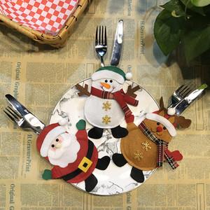 6 cores de Natal Louça Decoração de Papai Noel boneco de neve da rena Saco do presente garfo e faca porta-talheres Bag Xmas desktop Decor WX9-1637