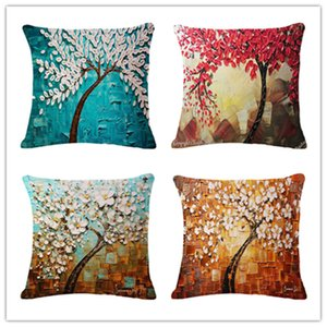 Hand Tree Flowers Oil Painting Cotton Flax Pillow Back Cushion Cushion Amazon Heat Sell