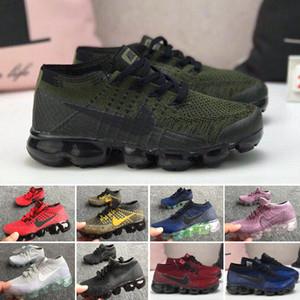 Nike Air Vapormax corriendo 2018 Zapatos Blanco Negro Aire Cusion deporte de los niños zapatos de niño entrenador del arco iris del muchacho y de la zapatilla de deporte Tns