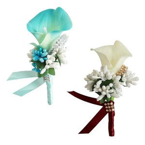 16PCS Flower Men Women Boutonniere Handmade Silk Men Corsage for Groom Wedding Party Suits for Groom Groomsman