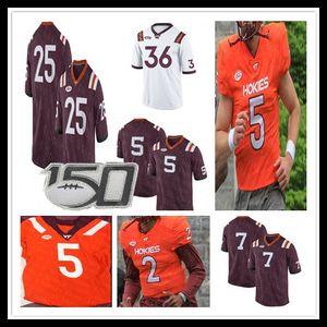 Hommes Virginia Tech Hokies College Jersey 11 Fuller 7 Vick 5 Taylor 17 chancelier 25 Frank Beamer 2 Hendon Hooker Damon Hazelton 150ème coutume