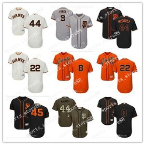 coutume hommes femmes jeunes SF Giants Jersey 44 Willie McCovey 8 Hunter Pence 45 Matt Moore 22 Will Clark Gris Blanc Enfants Baseball Maillots