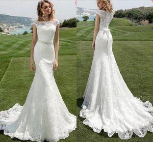 2020 Country Mermaid Lace Wedding Dresses Bateau Neckline Cap Sleeves Beaded Sash Bridal Gowns Garden Boho Wedding Dress