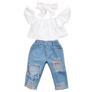 الصيف طفلة الاطفال ملابس تعيين تحلق أعلى الأكمام أبيض + ممزق السراويل الجينز + الأقواس العصابة مل 3pcs أطفال مجموعات مصمم الملابس بنات JY352
