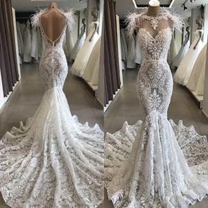 Robe De Mariee Mermaid Spitze Brautkleider 2020 Luxus-Perlen Feder Backless Schatz-Trompete-Kapelle Zug Braut Kleid