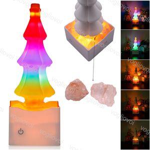 Night Lights Kristal Tuz Lambası Yaratıcı Renkli İç Aydınlatma USB Şarj edilebilir İçin Yatak Odası Noel Tatiller Dekorasyon DHL