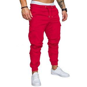 Nuevos DIHOPE 2020 Casual Joggers pantalones color sólido elástico de algodón para hombres pantalones largos Pantalón Homme de Carga polainas