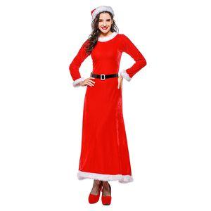Sladuo Women Christmas Costumes Uniforme di Babbo Natale per adulti Sexy abito lungo in velluto rosso con maniche lunghe di Natale