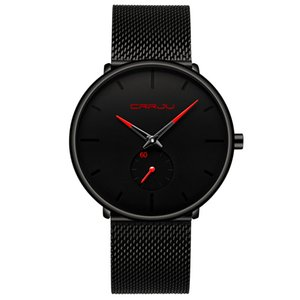 2020 Crrju Mens moda relógios Top Marca de luxo Quartz Relógio Men Casual Magro malha de aço à prova d'água saatler erkek Sport Watch