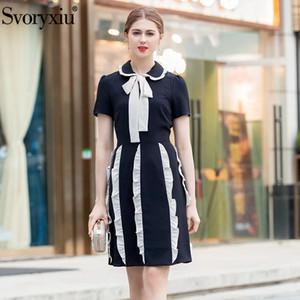 Svoryxiu Vintage Mini vestido Mujeres Runway Designer Verano manga corta drapeado Vestidos informales + B