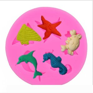 Silicone Mould 3D Seahorse Starfish Dolphin Cake Decorating Silicone Fondant Molds Marine Animals Cake Baking Molds Cake Decoration Gifts