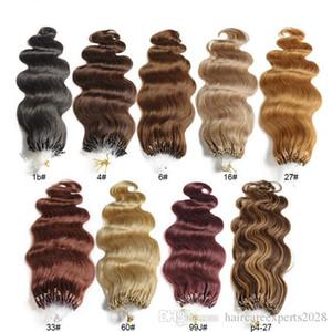 """Оптовая торговля-14"""" - 24"""" 1g / s 100g / lot 100s / lot Micro Loop наращивание волос body waves 1# 1B# 2# 4# 6# 27# 99J# 27# 613# dhl Shipping"""