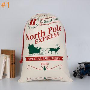 2020 Sacchetto regalo di Natale Sacchetto di tela con travi di cotone Sacco di Babbo Natale con coulisse Borsa con renne Sacchi di Babbo Natale Sacchi per bambini