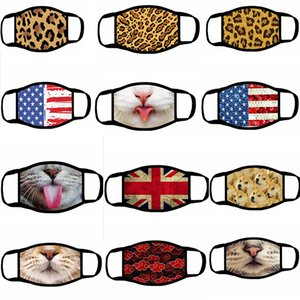 Funny Face Mask Cartoon Printed Reusable USA flag 3D leopard animal print Anti Dust Washable Outdoor Mouth Cover Masks DA597