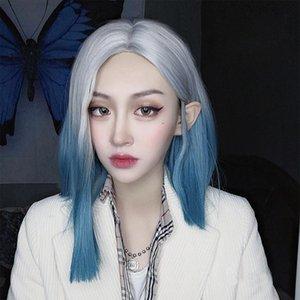 Buqi perruques courtes droite synthétique Moyen Partie Gris Bleu Mixte Fales Cheveux Pour Blanc / Noir Parti Cosplay Femmes Lolita