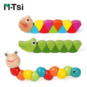 Renkli Ahşap Solucan Bulmacalar Çocuklar Öğrenme Eğitim Didaktik Bebek Gelişimi Oyuncaklar Parmaklar Oyunu Çocuklar için Montessori Hediye