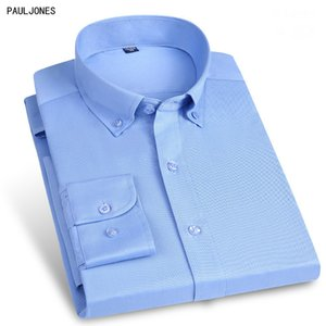 Paul Jones de haute qualité New manches longues coton solide Hommes Chemises Slim sociaux hommes valides Chemisier Vêtements de travail Blanc Noir Chine