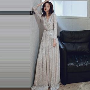 С длинными рукавами Вечерние платья Длинные Плюс Размер Robe K027 Элегантные женские платья партии 2019 Sexy V-образным вырезом Блестки Формальные платья