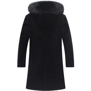 Winter Jacket Men Real Fox Collar Sheep Shearling Fur Coat Warm Wool Jackets Plus Size Veste Homme 7061 MY1840