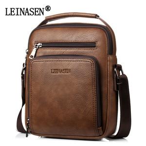 LEINASEN Männer Vintage-Schultertasche große Kapazitäts-multi-Fonction Leder-beiläufige Messenger Bag Umhängetasche Mode-Handtasche