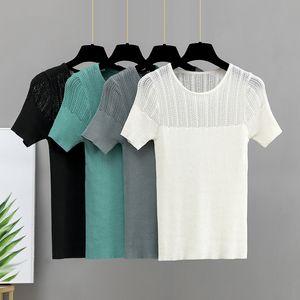 GİGOGOU Hollow out yaz kadın T gömlek moda Örme kısa kollu üst O boyun temel nervürlü kadın T-shirt Y200422
