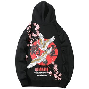 Januarysnow 2019 camisola Hoodies Hip Hop Mens Chinese Kanji Harajuku Streetwear Hoodie guindaste Floral Imprimir outono moleton com capuz solto