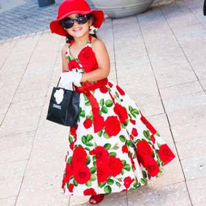 Kleider kinder v-ausschnitt halter kleid mädchen prinzessin ärmelloses langes kleid mädchen sommer rot baumwolle mädchen rose blume halter kleid strand rock