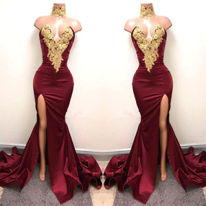 Burgund Mermaid Prom Dresses 2019 Gold Spitze Applizierte Sexy Black Girls Split Party Kleider Abendgarderobe Kleider BA5998