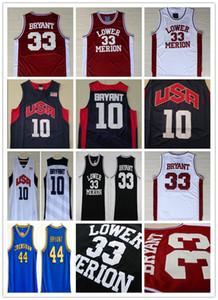 Мужчины NCAA 2012 Team USA Lower Merion 33 Bryant Jersey College High School Basketball Hightower Crenshaw Dream красный белый синий черный вышивка