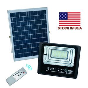 Uzaktan Açık Güneş LED Flood Işıklar 100W 50W 30W 70-85LM Lambalar Su geçirmez IP65 Aydınlatma Projektör Pil Paneli Güç Contorller ABD