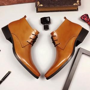 Venta caliente de cuero de alta-Top de los hombres de vestir de invierno Botas botines de trabajo para el hombre punta estrecha boda Hombre Negro Amarillo